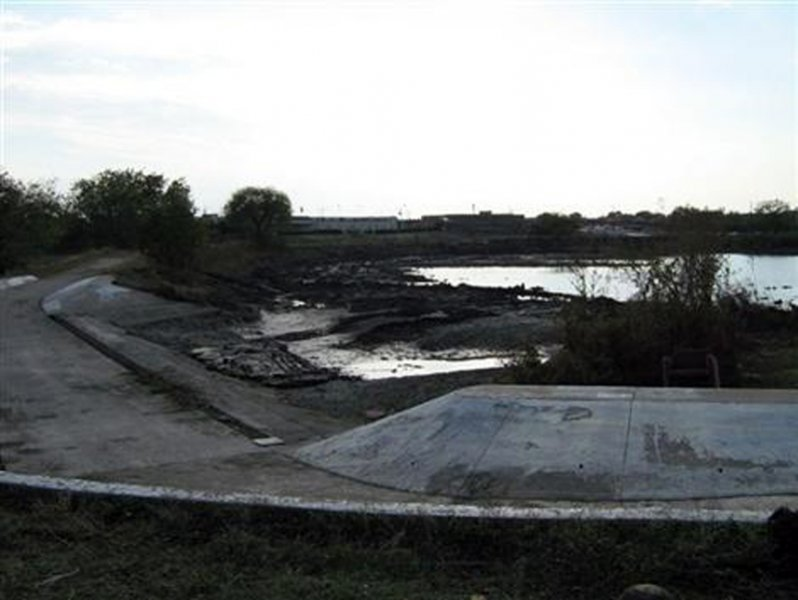 During Dredging - The backside of the spillway just before the lake refilled.