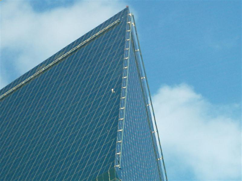 In this image, the small white object near the leading edge of the building is an adult Red-tailed Hawk perched on a metal structure used to secure window washing platforms.