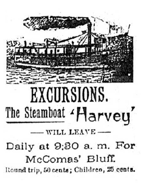 An advertisement for the steamboat H.A. Harvey Jr.