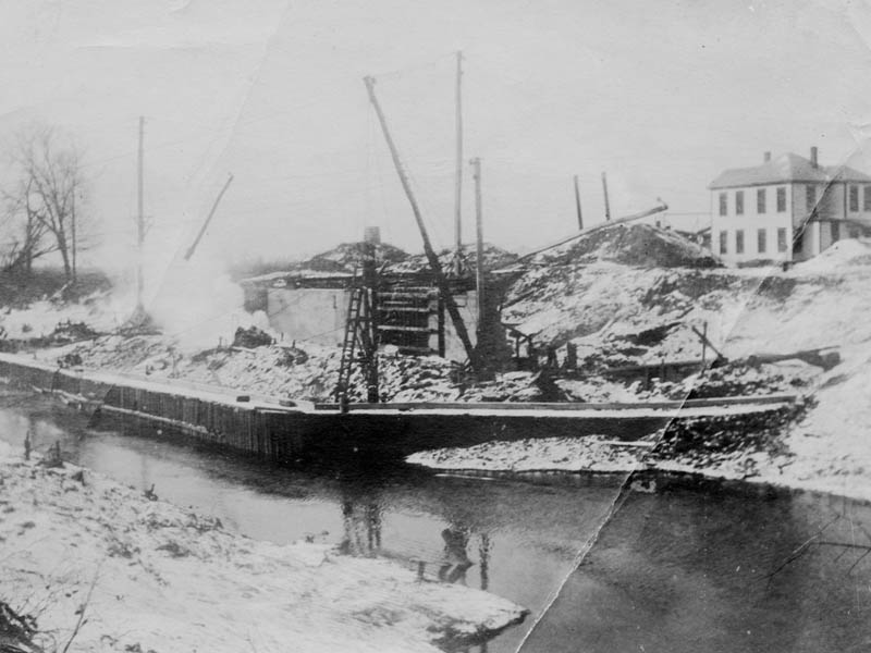 Lock and Dam Number One under construction, circa 1916.
