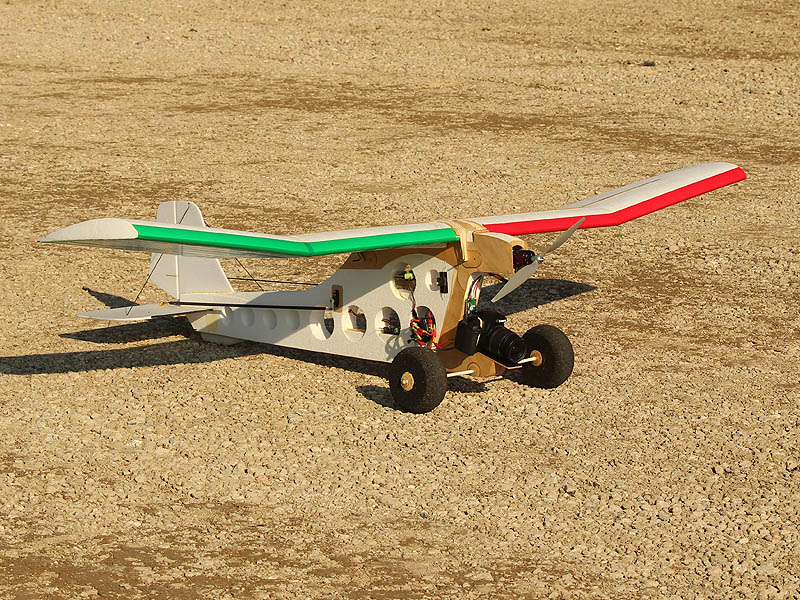 The custom built, remote controlled airplane.