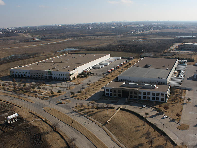 This is a small business park adjacent to the construction site. This picture faces southwest.  Visible in the distance are Schiff Lake and downtown Dallas.
