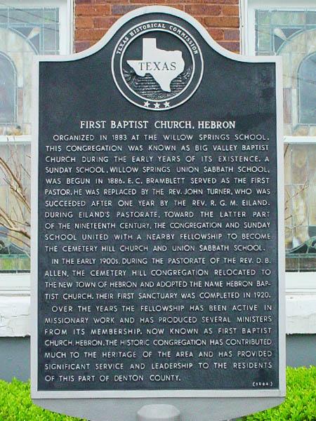Hebron Historical Marker