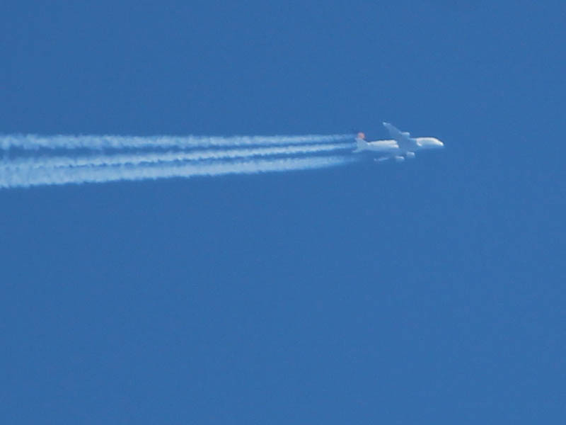 A high flying jet airliner.