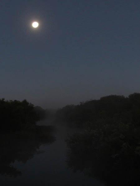 The moon over McWhorter Creek.