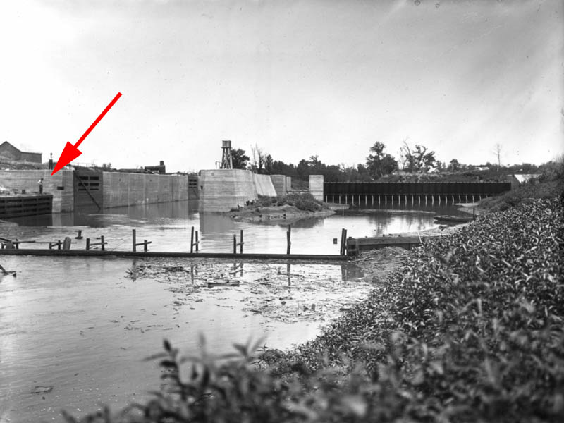 A historic photograph of Lock and Dam Number 4 dated June 14, 1913