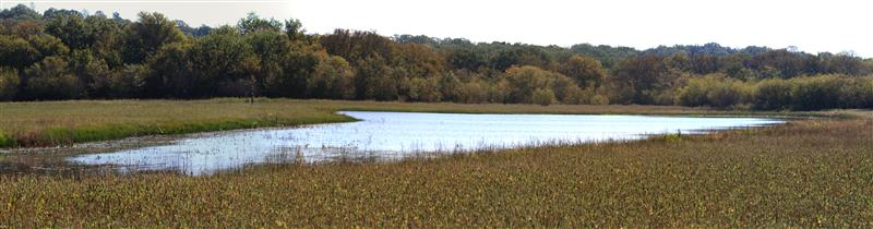 A panorama of one of the small lakes.  Photograph by Phil Plank.