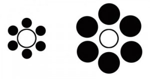 Which white circle is has the greater diameter?