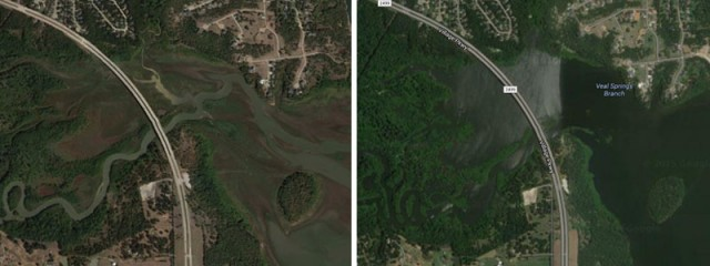Mud flats surround Hickory Creek after Lewisville Lake receded at the height of the drought (left).  Lake levels 7+ above normal after the spring rains (right).