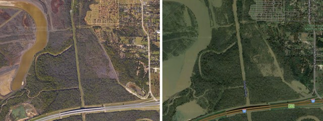 The Southern Gateway Park and surrounding area without water in 2014 (left).  The same location after the coming of the floods (right).
