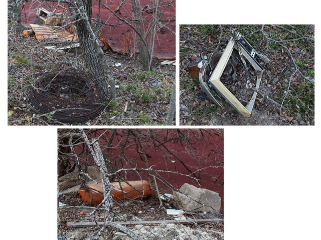 Discarded appliances and other garbage found around the perimeter of the pond.