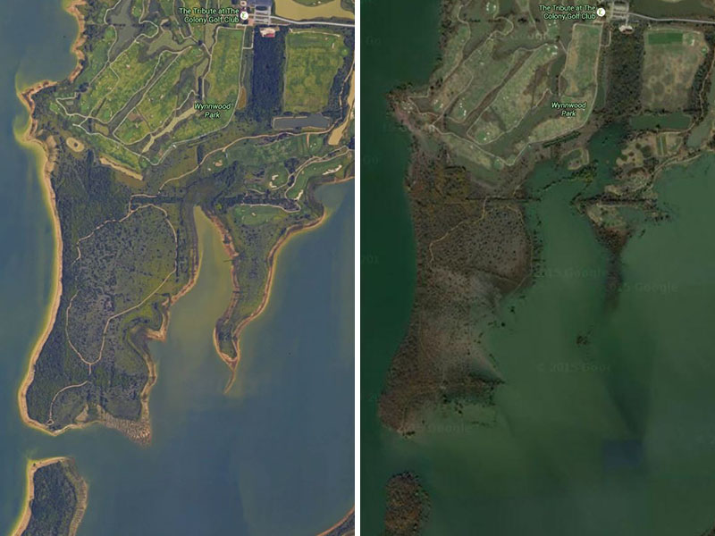 A park under water... The before and the after.