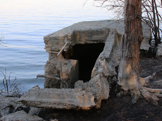 A storm cellar on the shores of Lewisville Lake.