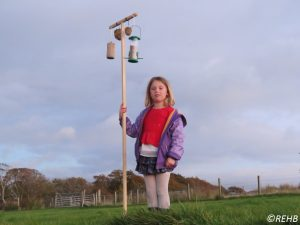 Katie with her bird feeder